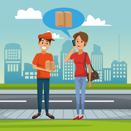 Courier delivering package cartoon vector illustration graphic design