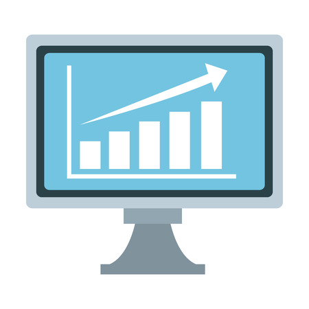 Business statistics on computer screen vector illustration graphic design