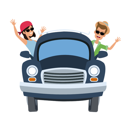 Couple traveling in car vector illustration graphic design