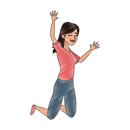 Young woman jumping vector illustration graphic design