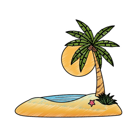 Beach and palms cartoons vector illustration graphic design
