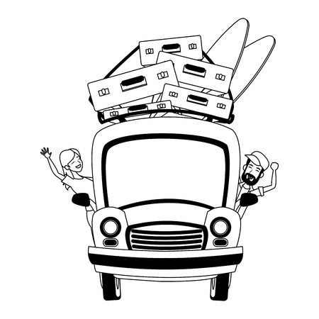 Car with luggage on top vector illustration graphic design Vettoriali