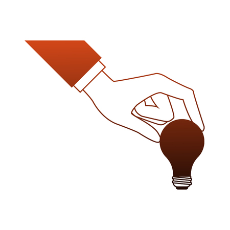 Hand holding bulb vector illustration graphic design