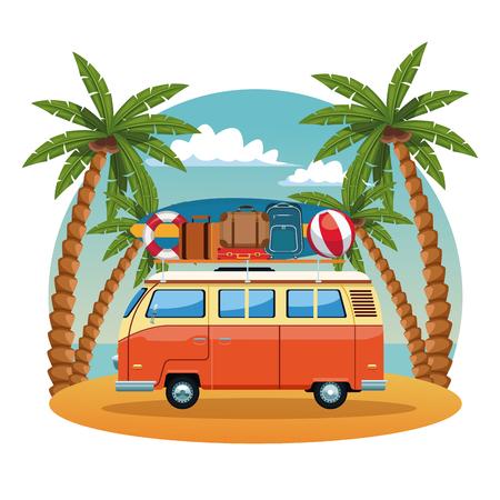 Vintage surf van in beach vector illustration graphic design Illustration