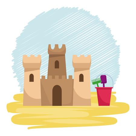 Sand castle in beach vector illustration graphic design