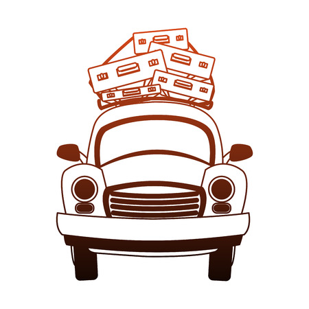 Car with luggage on top vector illustration graphic design 向量圖像