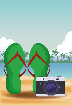 Flip flops and camera vector illustration graphic design