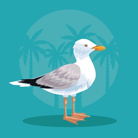 Stork in the beach cartoon vector illustration graphic design Illustration