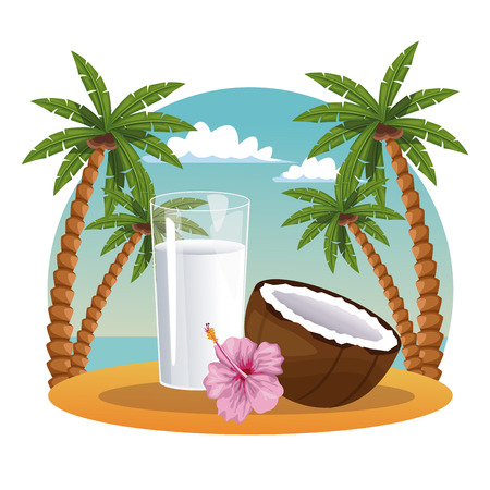 Coconut milk and charcoal in the beach vector illustration graphic design