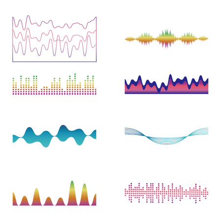 Set of waves colorful graphics vector illustration graphic design