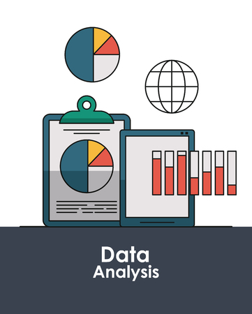 Data analysis concept with elements vector illustration graphic design  イラスト・ベクター素材