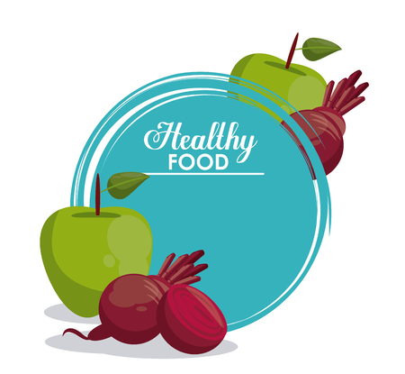 Healthy food vegetables and fruits vector illustration graphic design