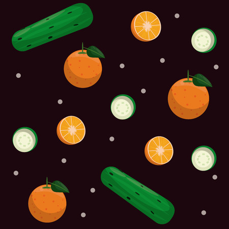 orange and cucumbers pattern background cartoons vector illustration graphic design Illustration