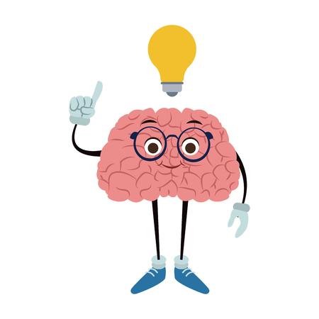 Funny brain cartoon with idea vector illustration graphic design
