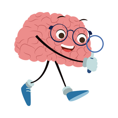 Funny brain cartoon with magnifying glass vector illustration graphic design