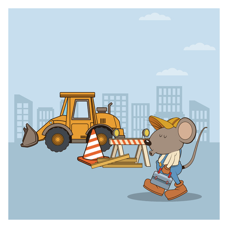 Under constrution mouses workers cartoons at city vector illustration graphic design