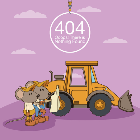Error 404 nothing found banner with worker mouses under construction cartoons vector illustration graphic design Vectores