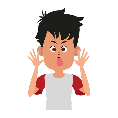 Boy sticking out his tongue vector illustration graphic design