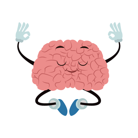Funny brain cartoon doing yoga vector illustration graphic design Illustration