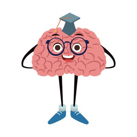 Funny brain graduated student cartoon vector illustration graphic design