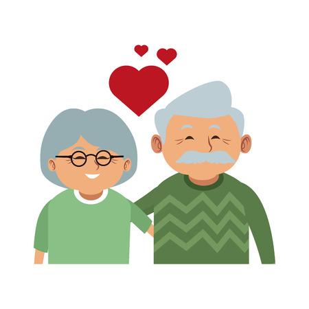Cute grandparents couple cartoon vector illustration graphic design  イラスト・ベクター素材