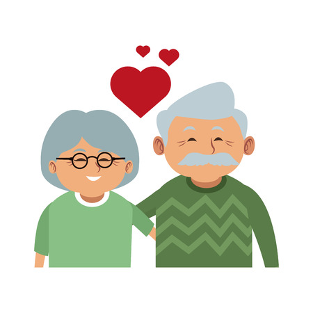 Cute grandparents couple cartoon vector illustration graphic design Illustration