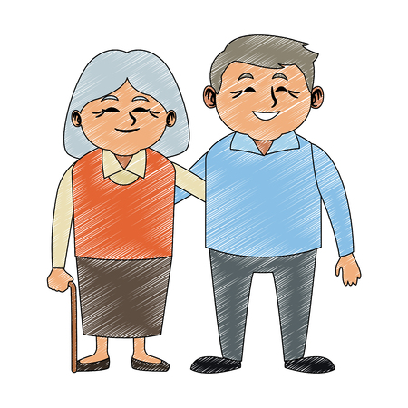 Cute grandparents couple cartoon vector illustration graphic design Illustration
