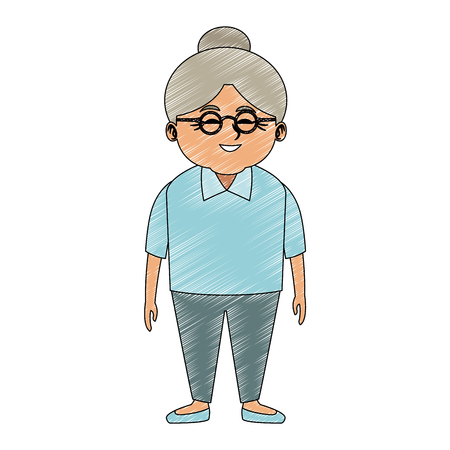 Cute grandmother cartoon vector illustration graphic design Ilustração