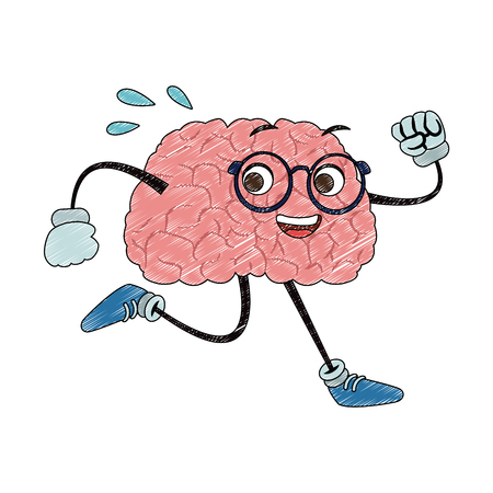 Funny brain cartoon running vector illustration graphic design