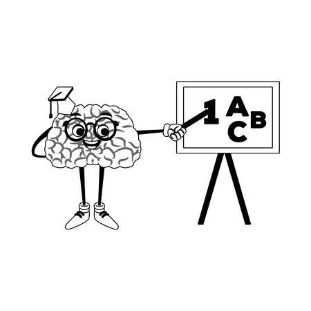 Funny brain cartoon exposing with blackboard vector illustration graphic design