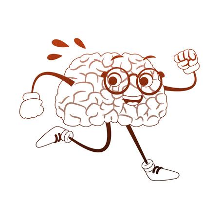 Funny brain cartoon running vector illustration graphic design