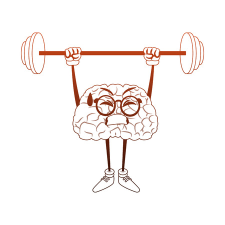 Funny brain cartoon lifting weights vector illustration graphic design Illustration
