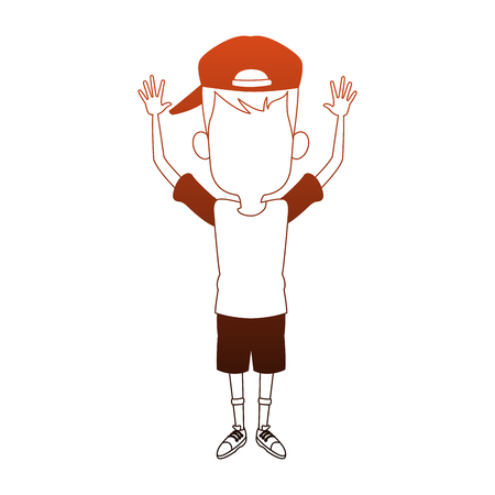 Cute boy with hands up vector illustration graphic design 일러스트