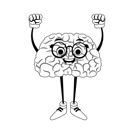 Funny brain cartoon with hands up vector illustration graphic design
