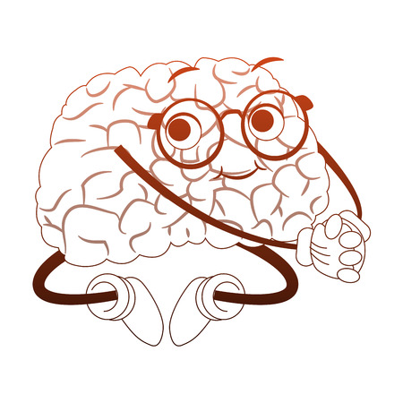 Funny brain cartoon vector illustration graphic design