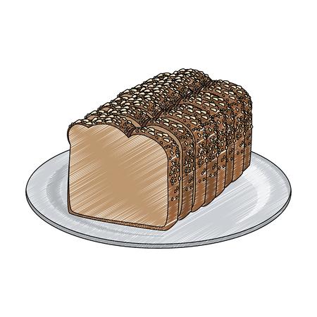 Fresh bread on dish vector illustration graphic design