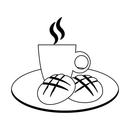 Bread and coffee breakfast vector illustration graphic design