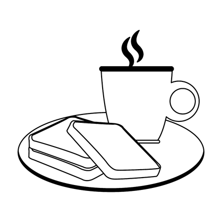 Bread and coffee breakfast vector illustration graphic design