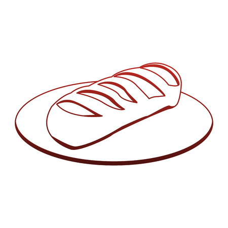 Fresh bread on dish vector illustration graphic design