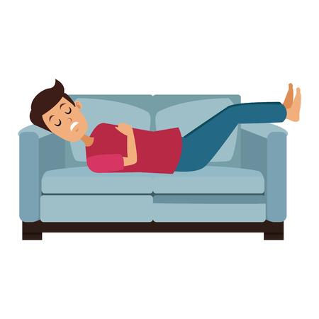 Man sleeping in sofa vector illustration graphic design 일러스트