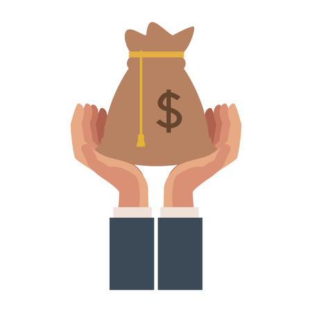 Hands with money bag vector illustration graphic design