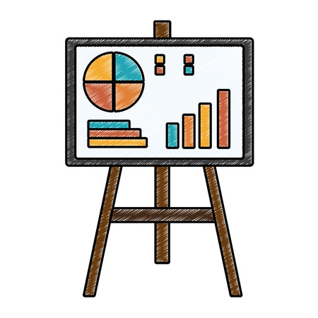 Whiteboard with statistics vector illustration graphic design