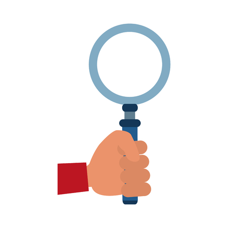 Hand with magnifying glass vector illustration graphic design