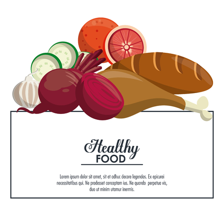 Healthy and delicious food banner with information vector illustration graphic design