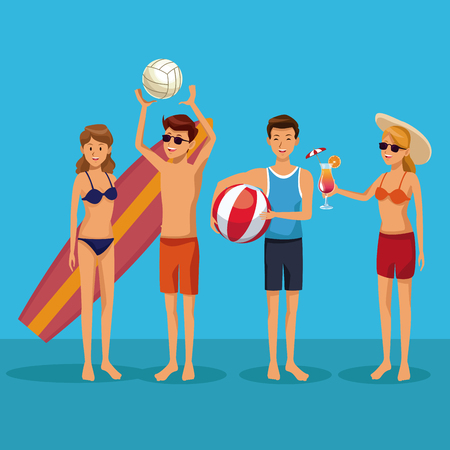 Young people in swim suit summer cartoons vector illustration graphic design Vectores