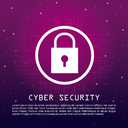 Cyber security banner digital concept with information vector illustration graphic design