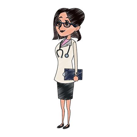 Nettes weibliches Doktorkarikatur-Vektorillustrationsgrafikdesign