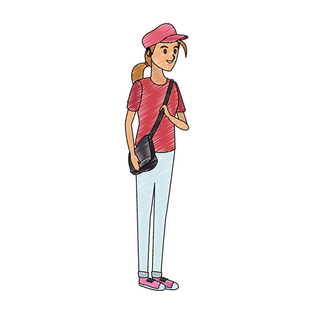 Young student woman cartoon vector illustration graphic design Illustration