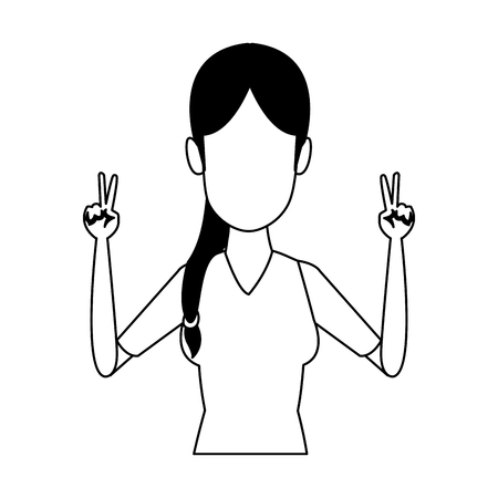 Young woman doing hands expressions vector illustration graphic design