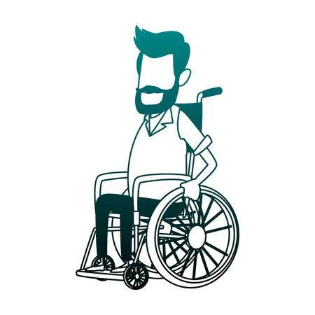Man in wheelchair cartoon vector illustration graphic design